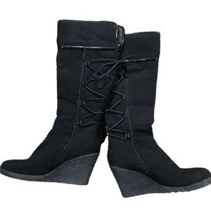 Black wedge boots with tie up and side zip